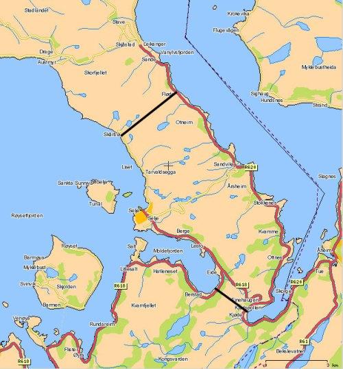 Stad skipstunnel - 12. september 2007 ble det offentliggjort to ulike forslag til trasé for Stad Skipstunnel. Disse skisseres her. Det ene forslaget er gjennom Mannseidet (den korte/gamle løsningen) det andre er mellom Skårbø og Fløde(den lange/nye løsningen)